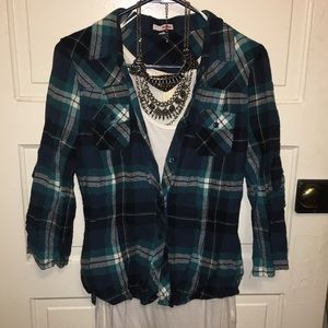 Fitted teal and black plaid flannel button down
